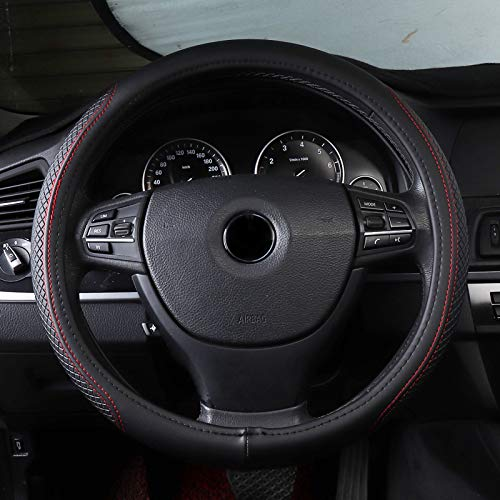 QCCOKNN Autolenkradabdeckung PUDurchmesser 38cm, für Audi 80 A1 A3 8l 8p 8v Sportback Limousine Berline A4 B5 B6 B7 Avant B8 B9