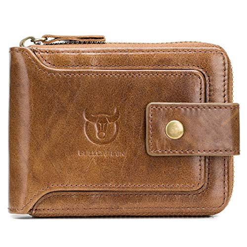 BULLCAPTAIN Genuine Leather Wallet for Men Large Capacity ID Window Card Case with Zip Coin Pocket QB-231 (Brown)