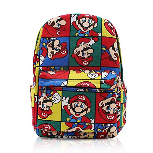 Finex Super Mario Brother Bros Canvas Casual Daypack with 15 in Laptop Storage Compartment