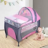 Baby Travel Cot, 2 in 1 Portable Infant Bassinet Bed and Changing Table & Baby Play Pen Entryway Folding...