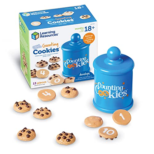 Learning Resources Smart Counting Cookies, Toddler Counting & Sorting Skills, 13 Piece Set, Early Math Skills for Kids, Play Food for Toddlers, Chocolate Chip Cookies, 13 pieces, Ages 2+