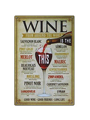 Señalización de vino interesante señal de cocina y póster decorativo de metal...