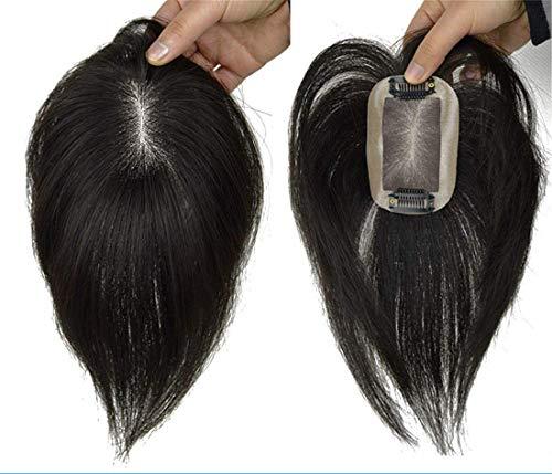DGHJK Pelucas de Cabello Humano para Mujeres Corte de Cabello Mono Superior de 2 'x 3' Peinado Recto Cabello Virgen Corona Tup para Mujer 10 'Negro