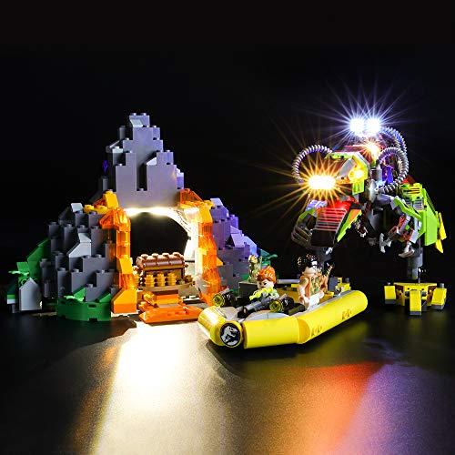 BRIKSMAX Kit di Illuminazione a LED per Lego Jurassic World Battaglia tra T. Rex e Dino Mech,Compatibile con Il Modello Lego 75938 Mattoncini da Costruzioni - Non Include Il Set Lego.