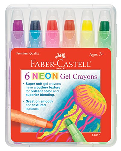 Faber-Castell Neon Gel Crayon Set - 6 Twistable Gel Crayons for Kids