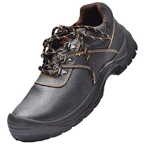 KAM-LITE Botas de trabajo impermeables para hombre, de piel y acero, con puntera, para senderismo, S3 SRC, color negro, color Negro, talla 37 EU
