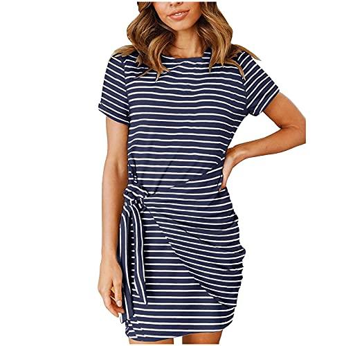 Vestidos de verano para mujer, vestido de sol para mujer, casual, de moda, cuello redondo, manga corta, vestido de verano con estampado de rayas, casual, vestido de túnica