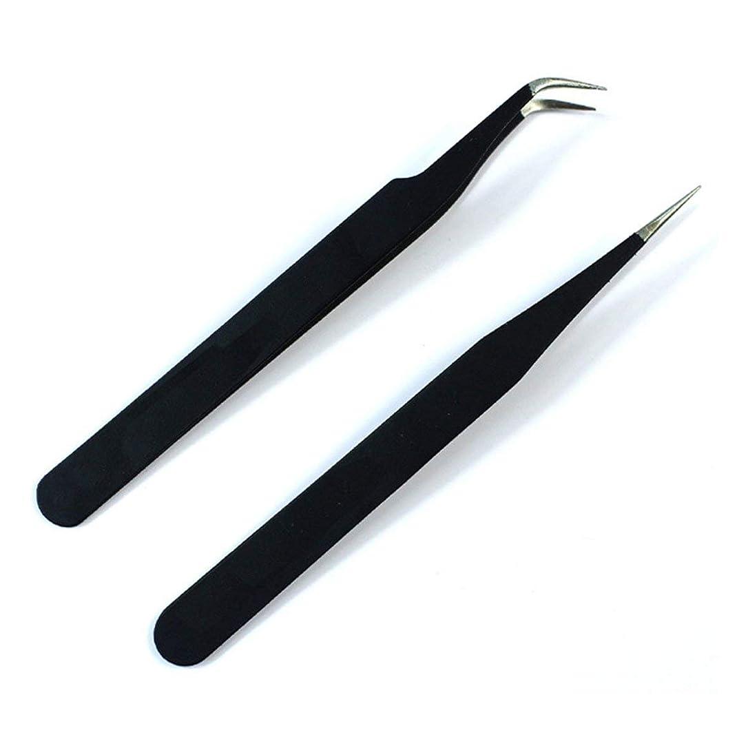 別れる割り込み波ネイルツールネイルピンセットネイル型ステンレス肘ストレートヘッドピンセット丈夫なネイルピンセット(ブラック)