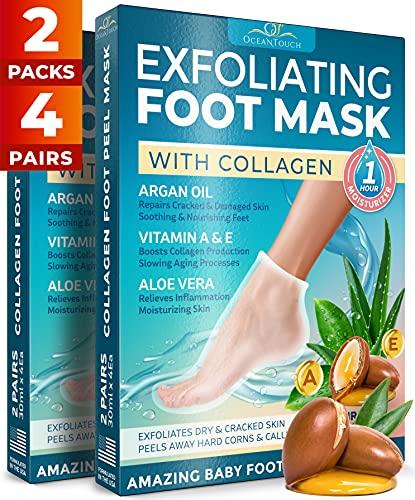 Collagen Foot Peel Mask - 2 Pack - Argan Oil, Aloe Vera, Vitamin A & E Exfoliating Masks - Baby Soft Peeling Socks - for Dead Skin & Dry Feet - Cracked Heels & Rough Calluses Remover - Smooth Foot Repair