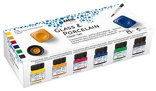 Kreul 16601 - Glass & Porcelain Set Clear, 6 x 20 ml in gelb, orange, rot, blau, grün und braun sowie ein Pinsel, transparente, glasklare Glas- und Porzellanmalfarbe auf Wasserbasis