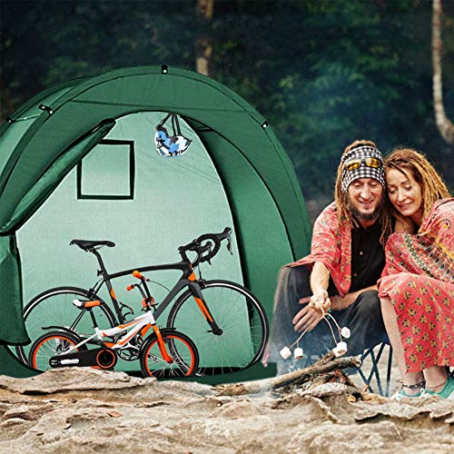 ZXYMUU Bike Tent, Portable Weather Resistant Protection Outdoor Bike Cover for 1, Bikes - Heavy Duty Ripstop Material, Offers Constant Protection All Through The 4 Seasons, 200CMX88CMX165CM