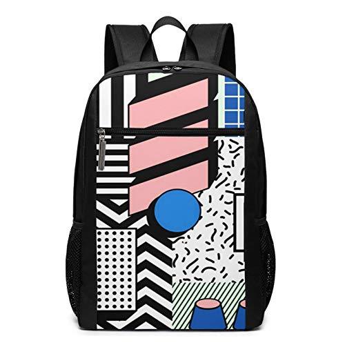 School Backpack 1980s Fun Block Geometric Stylish, College Book Bag Business Travel Daypack Casual Rucksack for Men Women Teenagers Girl Boy
