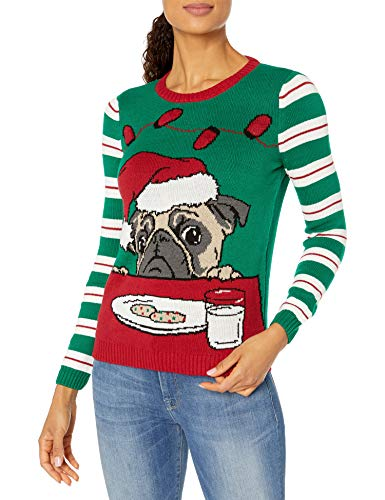 Ugly Christmas Sweater Company Women's Light-Up Pullover Xmas Sweaters Multi-Colored LED Flashing Lights Juniors, Emerald Light Up - Pug W/Cookies and Milk, L