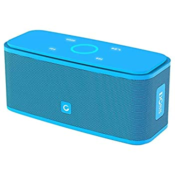 Bluetooth Speakers DOSS SoundBox Touch Portable Wireless Bluetooth Speakers with 12W HD Sound and Bass IPX5 Waterproof 20H Playtime,Touch Control Handsfree Speakers for Home,Outdoor,Travel- Blue