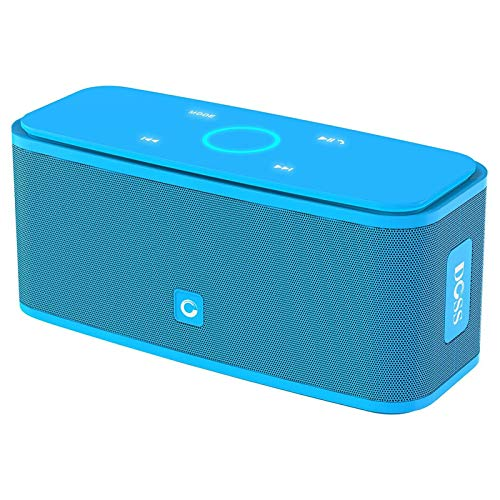 Bluetooth Speakers, DOSS SoundBox Touch Portable Wireless Bluetooth Speakers with 12W HD Sound and Bass, IPX5 Waterproof, 20H Playtime,Touch Control, Handsfree, Speakers for Home,Outdoor,Travel- Blue