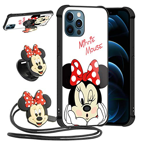 DISNEY COLLECTION Minnie Mouse Case for iPhone 12 PRO MAX with 3D Cartoon Expanding Phone Stand Grip Holder and Long Lanyard Strap Shockproof Cover Compatible with iPhone 12 PRO Max 6.7 INCH 2020