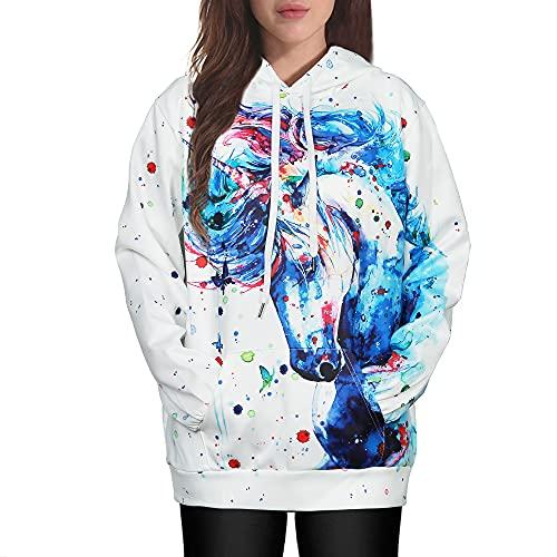 Bonamana Bonita sudadera con capucha de unicornio con bolsillos de manga larga para niñas y mujeres. a M