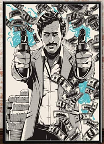 WZGJZ Cuadro De Lienzo Pablo Escobar Personaje Leyenda Pared Arte Cartel Impresión Dormitorio Sala De Estar Decoración del Hogar Jz1039We 40X60Cm Sin Marco