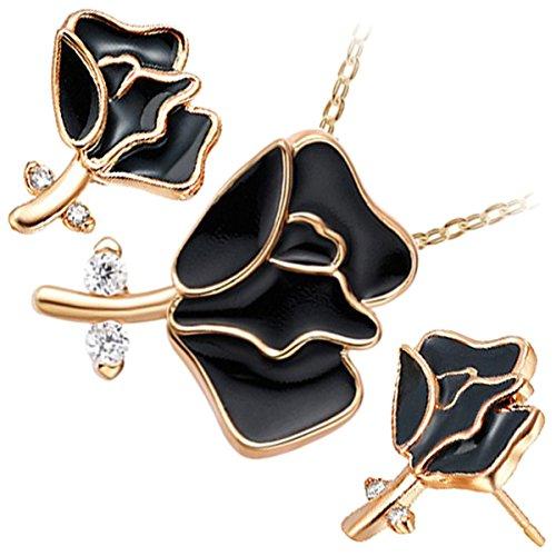 GWG Jewellery Juego de Joyas Mujer Regalo Conjunto, Collar y Pendientes Bañado en Oro 18K Flor de Rosa con Pétalos Colorados y Tallo Engalanado con Cristales Blancos a Fiesta para Mujeres