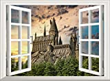 Removable Wall Sticker/Wall Mural - Harry Potter Castle Hogwarts Wizard | Creative 3D Window View Home Decor/Wall Decor Art Decal Vinyl Poster Nursery Kids Room (120x75 cm)