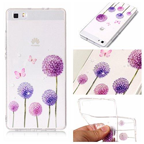 Huawei P8 lite (5 Zoll) Coque, Anlike Huawei P8 lite (5 Zoll) Téléphone Coque / Étui Flexible protection en Soft TPU Silicone Shell Etui Housse de Protection Coque Etui Silicone Transparente case cover pour [Huawei P8 lite (5 Zoll)] - pissenlit
