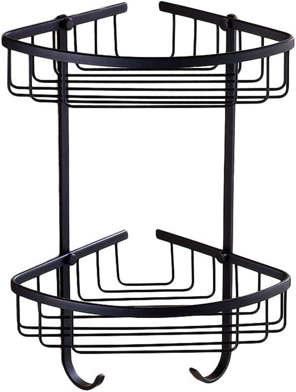LUDSUY Black Bathroom Shelf Basket Layer Frame Corner Antique Double Rectangular Basket Solid Brass Bathroom Set,A
