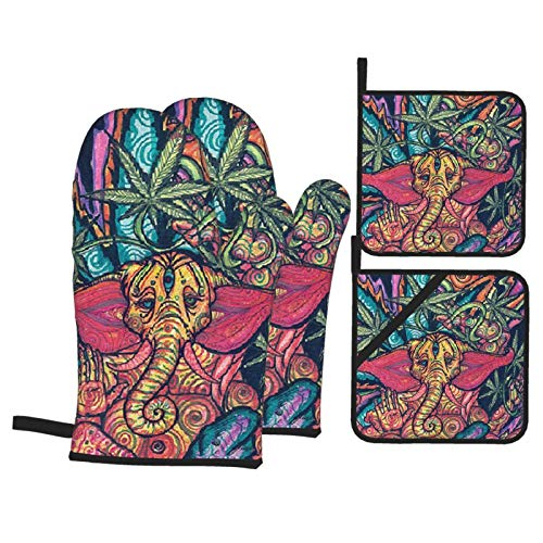 Tribal Elephant and Leaves Pot Holders and Oven Mitts Sets Heat Resistant Cooking Gloves Kitchen Potholders for BBQ,Baking,Grilling (2 Pair)