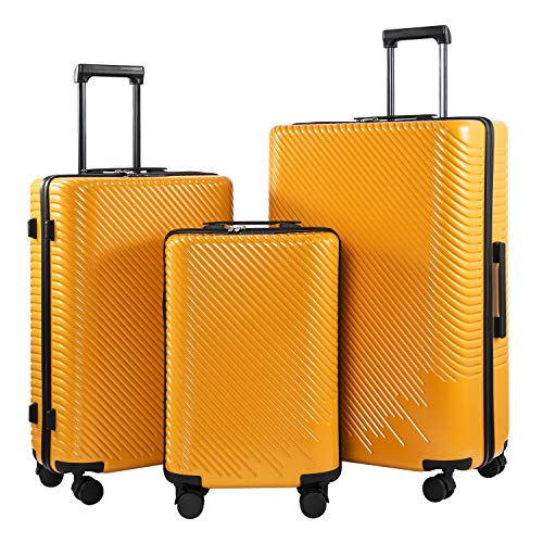 Coolife Luggage 3 Piece Sets PC+ABS Spinner Suitcase carry on Fashion (Mustard yellow, One_Size)