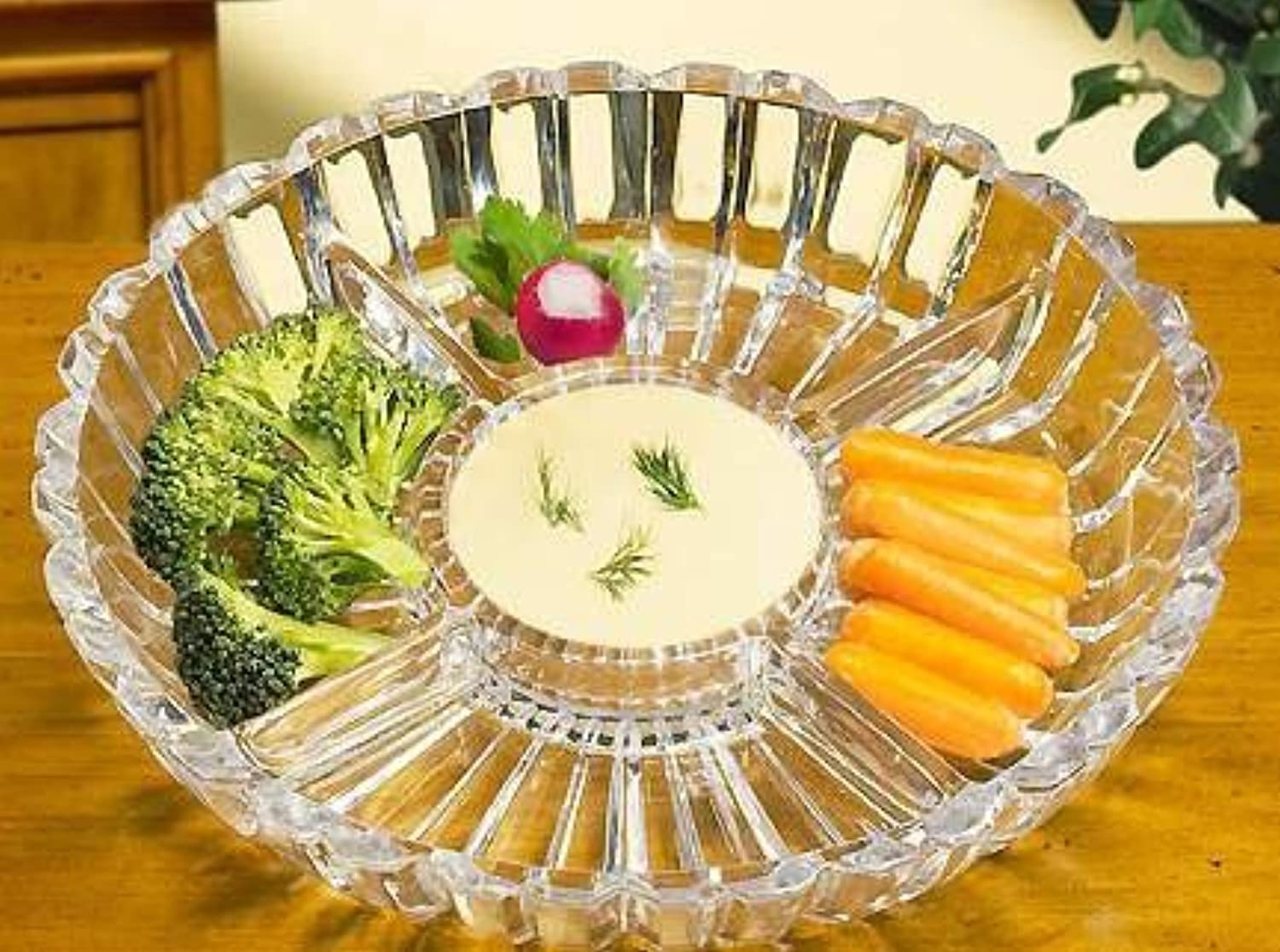 Crystal Clear Alexandria Sectional Dish Platter, 10-Inch