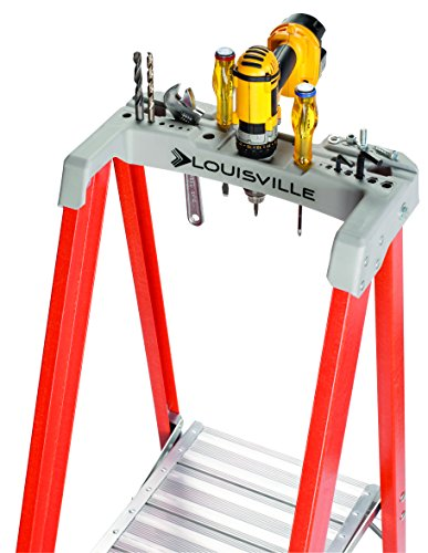 Louisville Ladder 6-Foot Fiberglass Platform Ladder with Extended Rail, 300 Lb Capacity, Type IA, FXP1706, 6-feet