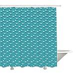 Yeuss Whale Duschvorhang,ungewöhnliche Wellen & Wale sprudeln Wasser Surreal Ocean Marine Magie,Tuch Stoff Badezimmer Dekor Set mit Haken,Meergrün & Schieferblau