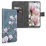 kwmobile Wallet Hülle kompatibel mit LG G8X ThinQ - Hülle Kunstleder mit Kartenfächern Stand Magnolien Taupe Weiß Blaugrau