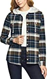 CQR Women's Hooded Plaid Flannel Shirt Long Sleeve, All-Cotton Soft Brushed Casual Button Down Shirts, Plaid Flannel Hoodie(wof006) - Midnight Forest, Medium