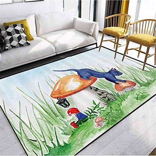 Animal Decor Polyester Area Rug Christmas Thanksgiving Decor Rug Little Cartoon Cat Black in a Mushroom Garden with Leaves and Flowers Art Multicolor 4 x 2 ft