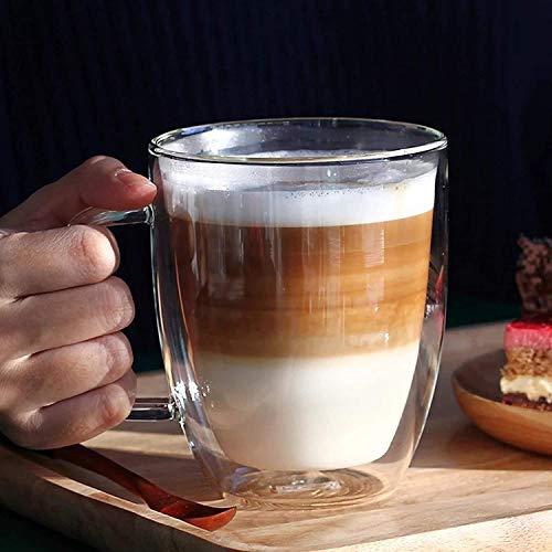 Glas Kaffee Kaffeetasse mit Griff Kaffeeglas Doppelschicht Teeglas Hitzebeständig Thermoglas Espresso Tee Wasserglas Latte Macchiato Trinkglas Bier Glühwein Becher Spülmaschinenfest Mokkatasse