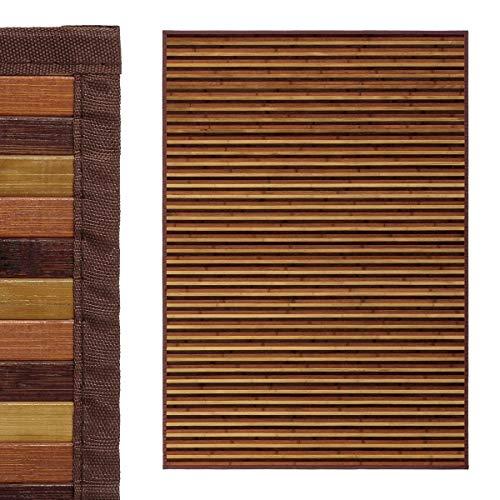 EURASIA® Alfombras de Salón Bambú Natural - 8 Colores - Base Antiadherente - Borde Confeccionado - 140 x 200 cm (Mix Marron)