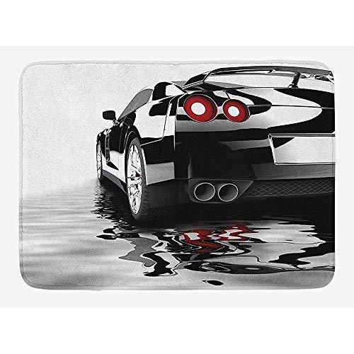 Ruan-Shop Auto-Badematte, modernes schwarzes Auto mit Wasser-Reflexions-Prestige-schneller Motorleistungs-Lebensstil-Fußmatten-Schwarz-Rot-Weiß