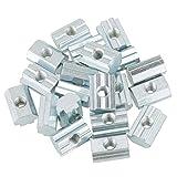 Tuerca en T, M4 / M5 / M6 / M8 Tuerca deslizante en T de acero al carbono con revestimiento de zinc para perfiles de extrusión de aluminio tipo 40 (20 piezas)(M6)