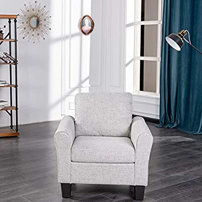 GOOD & GRACIOUS Loveseat Accent Chair Sofa Couch for Small Space and Living Room, 56 Inches Modern Upholstered Small Love Seat Armchair, Grey