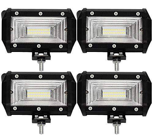 Leetop 4X 72W Faro Trabajo LED,Super Bright y Potentes Focos LED Coches 6000K IP67 Impermeable de Faros Adicionales Blanco Frío para Off-Road Tractor,Camión