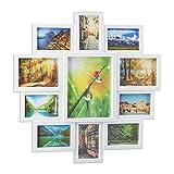 Relaxdays Marco de Fotos Múltiple para 11 Fotografías, Blanco, 61.5x61.5x2 cm