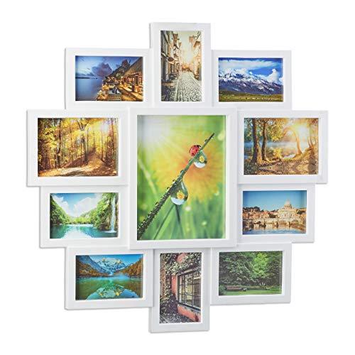 Relaxdays Bilderrahmen Collage, Bildergalerie für 11 Fotos, Fotorahmen zum Aufhängen, für mehrere Fotos, weiß