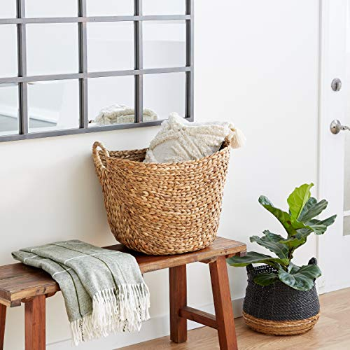 """Deco 79 Large Seagrass Woven Wicker Basket with Arched Handles, Rustic Natural Brown Finish, as Coastal Decorative Accent or Storage, 21"""" W x 17"""" L x 17"""" H,"""