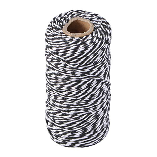 Pixnor Weihnachten-Bänder Kit 100M Wrap Geschenk Baumwoll Seil Band Schnur Seil Schnur String schwarz