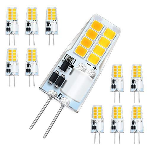 KINGSO 10er Pack G4 LED Lampen 3W 300LM Warmweiß 3000K ersetzt Halogenlampen 35W 360 °Abstrahlwinkel AC/DC 12V für Wohnzimmer Küche Schlafzimmer Flur Garten Nicht Dimmbar