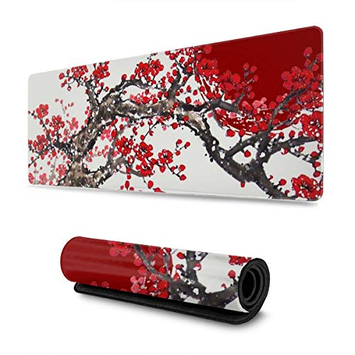 Cherry Blossom Tree and Red Sun Gaming Mouse Pad XL, Extended Large Mouse Mat Desk Pad, Stitched Edges Mousepad, Long Non Slip Rubber Base Mice Pad, 31.5 X 11.8 Inch