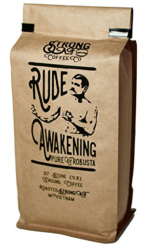 Coffee - Strong AF Coffee w  2x-3x Standard Caffeine - Rude Awakening Blend for French Press, Drip, Espresso (16 oz - Ground Bean)