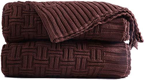 Shaddock Coperta a maglia, 100% cotone, coperta per riscaldarsi per divano, letto, poltrona marrone
