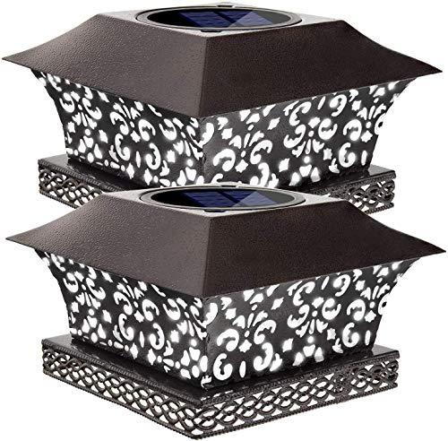 Siedinlar Solar pfostenleuchte Solarbetrieben Draussen Weiß LED Beleuchtung mit Metall Wasserdicht für Garten Terrasse Zaun Deck Cap Lampe Dekoration 4x4 5x5 Hölzerne Pfäle(2 Pack)