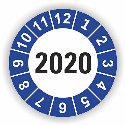 5-1.000 Stück Prüfplaketten Prüfetiketten Wartungsetiketten Jahresplakette 2020 Ø 20mm (Blau 10 Stück)